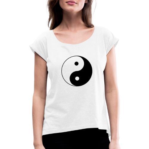 800px Yin yang svg 1 - Frauen T-Shirt mit gerollten Ärmeln