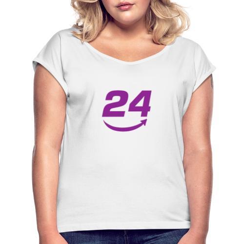 HorseDeal24 Logo Violett - Frauen T-Shirt mit gerollten Ärmeln