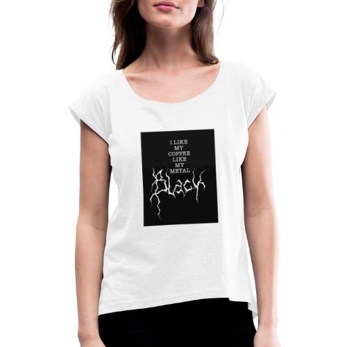 Kaffe - T-shirt med upprullade ärmar dam