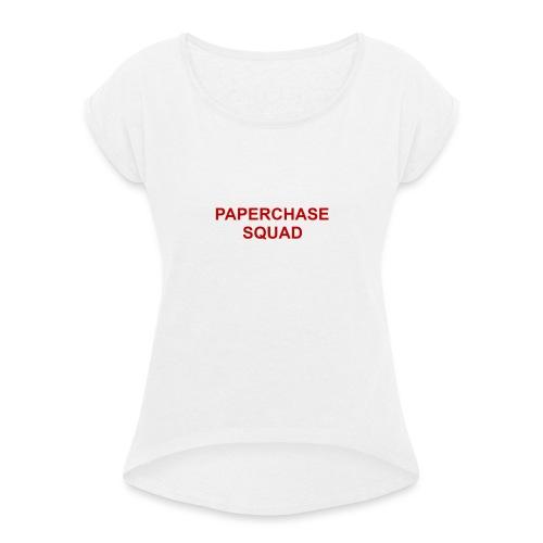 PAPERCHASE - Vrouwen T-shirt met opgerolde mouwen