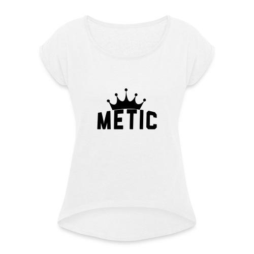T Shirt design Black Bigger - Vrouwen T-shirt met opgerolde mouwen