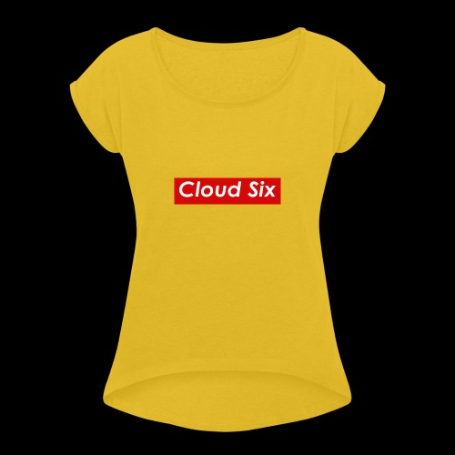Cloud Six - Naisten T-paita, jossa rullatut hihat