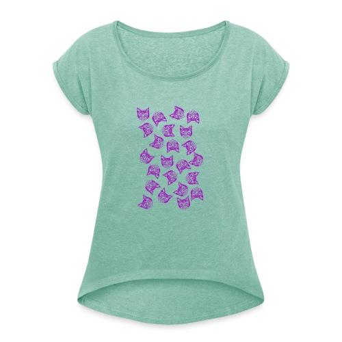 Magenta Mollys - Naisten T-paita, jossa rullatut hihat