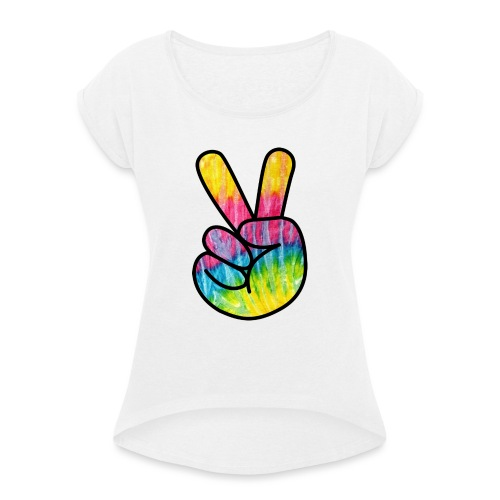 Peace Out Dude - Women's T-Shirt with rolled up sleeves