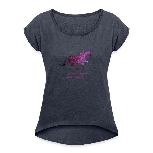 La licorne cosmique - T-shirt à manches retroussées Femme