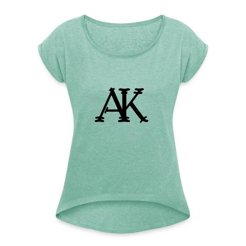 Brand logo - Vrouwen T-shirt met opgerolde mouwen