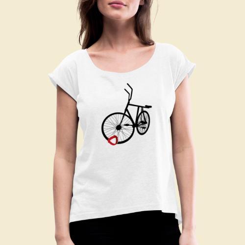 Radball | Black - Frauen T-Shirt mit gerollten Ärmeln