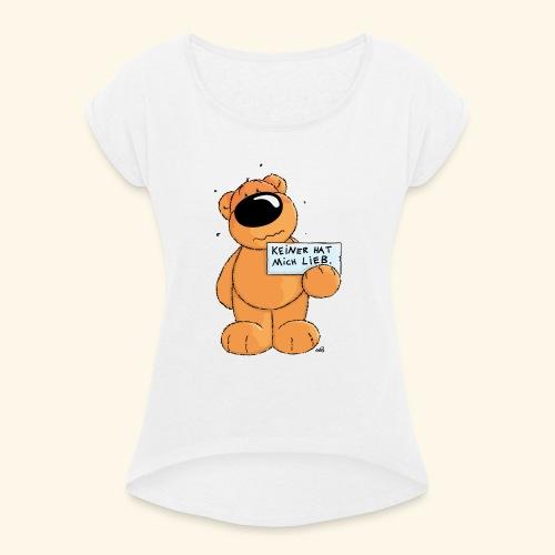 chris bears Keiner hat mich lieb - Frauen T-Shirt mit gerollten Ärmeln