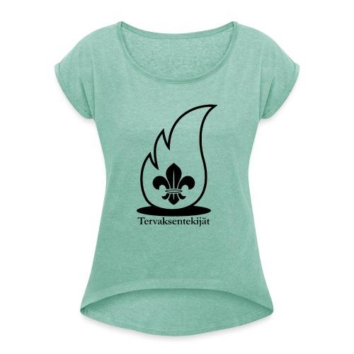 Terte lieska musta 4000px - Naisten T-paita, jossa rullatut hihat