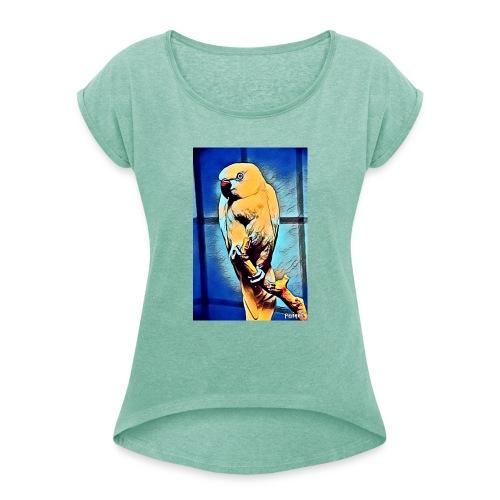 Bird in color - Naisten T-paita, jossa rullatut hihat