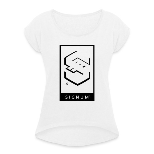 signumGamerLabelBW - Women's T-Shirt with rolled up sleeves
