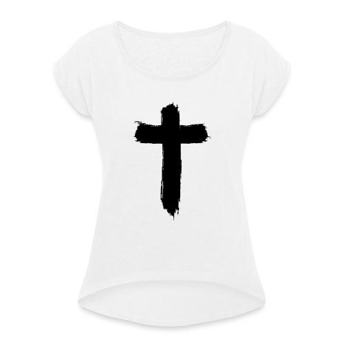 Brushed-Cross - Frauen T-Shirt mit gerollten Ärmeln
