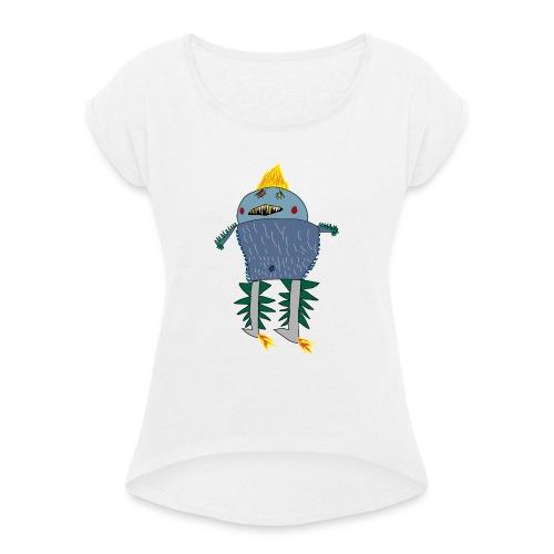 Stekelmonster - Vrouwen T-shirt met opgerolde mouwen