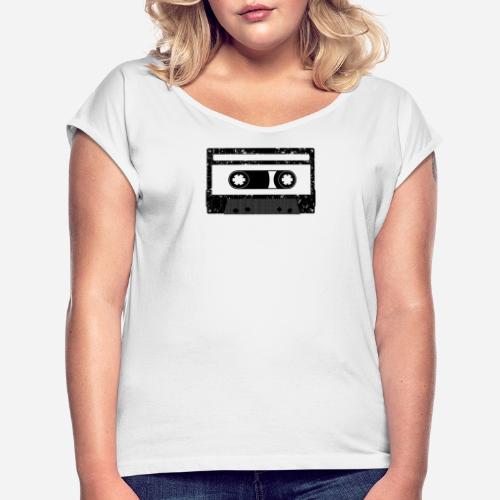 Kassette | Kompaktkassette | Compact Cassette - Frauen T-Shirt mit gerollten Ärmeln