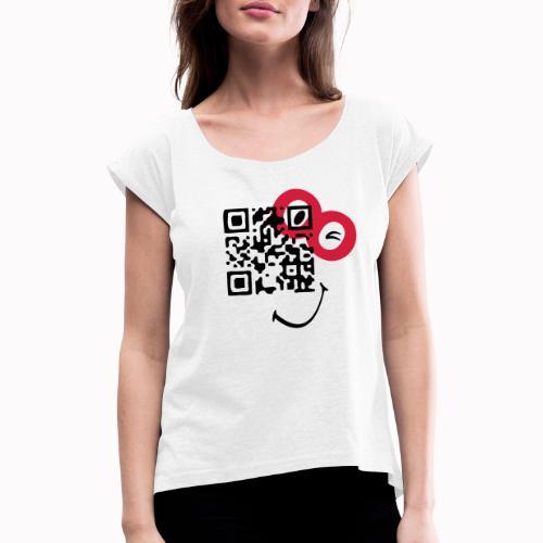 qr sorriso - Maglietta da donna con risvolti
