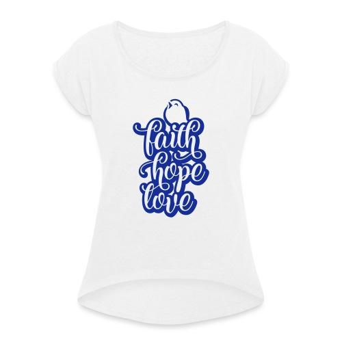 typo kinder 2016outline c - Frauen T-Shirt mit gerollten Ärmeln