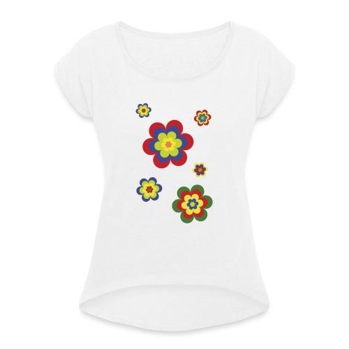 limited edition 3b flower power - Frauen T-Shirt mit gerollten Ärmeln