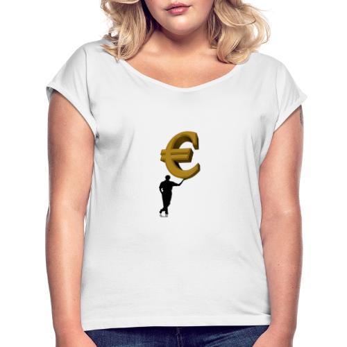 kisspng euro sign loan silhouette man and the euro - Frauen T-Shirt mit gerollten Ärmeln