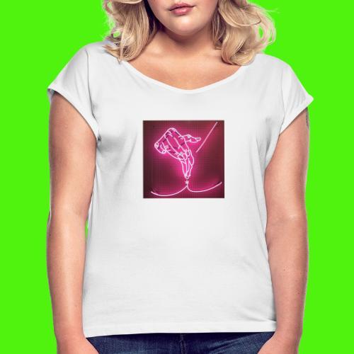 T-shirt med neon hand - T-shirt med upprullade ärmar dam