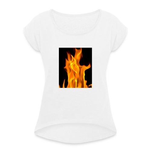 Flamme - T-skjorte med rulleermer for kvinner
