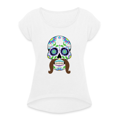 Bigotes - Camiseta con manga enrollada mujer