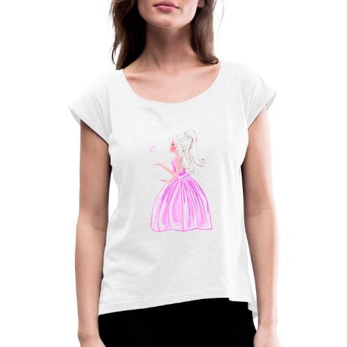 princesse et papillon - T-shirt à manches retroussées Femme