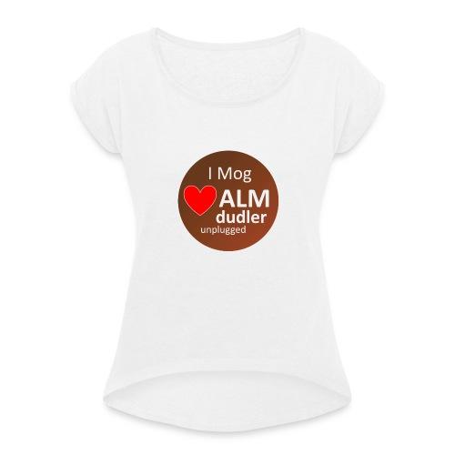 logo1 png - Frauen T-Shirt mit gerollten Ärmeln