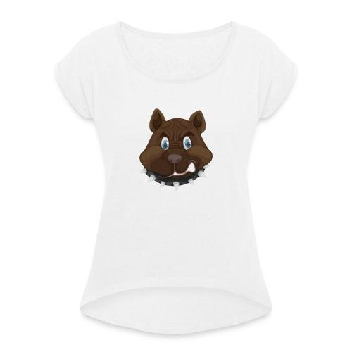PERRO ENFADADO - Camiseta con manga enrollada mujer