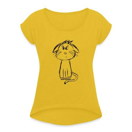 Kissa Kissanpentu musta scribblesirii - Naisten T-paita, jossa rullatut hihat