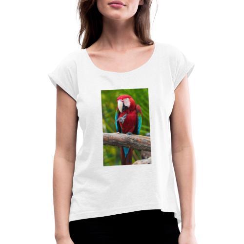 parrot - Frauen T-Shirt mit gerollten Ärmeln