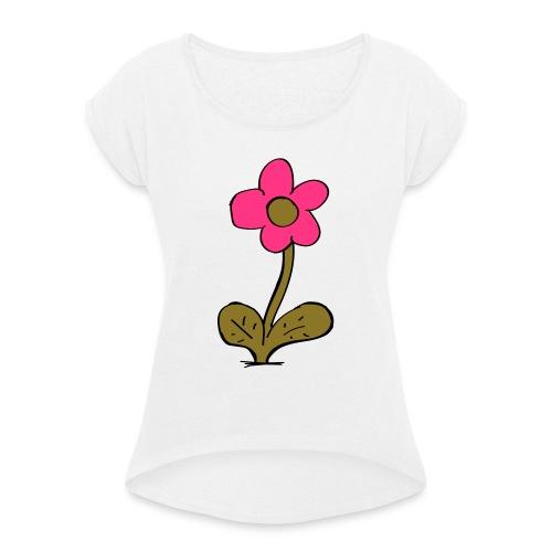flowershirt-ai - Vrouwen T-shirt met opgerolde mouwen