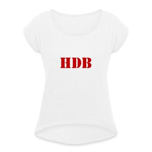 HDB Mok binnenkant rood - Vrouwen T-shirt met opgerolde mouwen