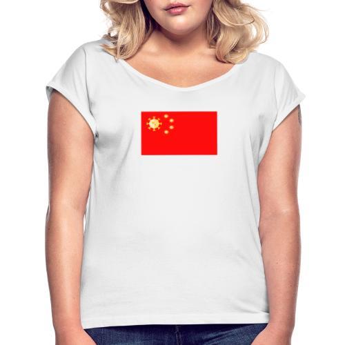 Corona Virus Spezial-Bekleidung - Frauen T-Shirt mit gerollten Ärmeln