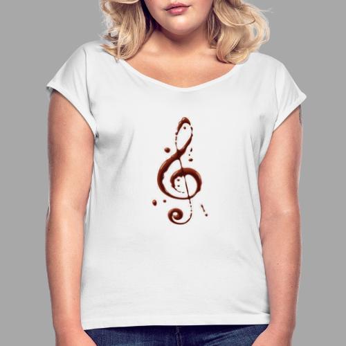 Klucz Wiolinowy Koszulka M/D - Koszulka damska z lekko podwiniętymi rękawami