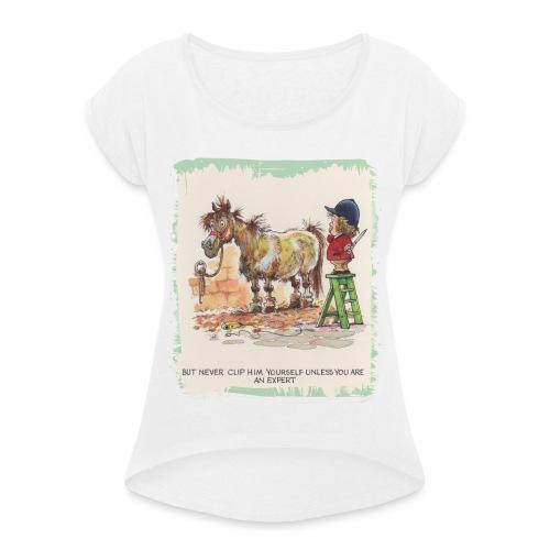 Thelwell Cartoon Pony beim Friseur - Frauen T-Shirt mit gerollten Ärmeln