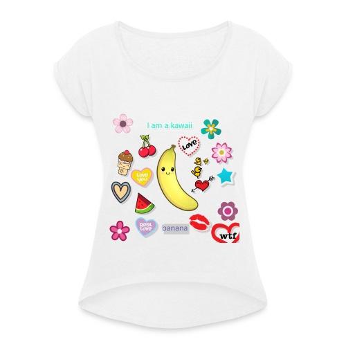 banana en force - T-shirt à manches retroussées Femme
