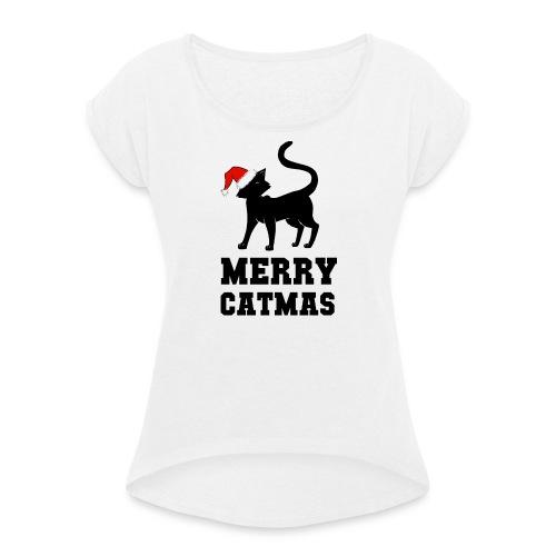 Merry Catmas - Silhouette - Frauen T-Shirt mit gerollten Ärmeln