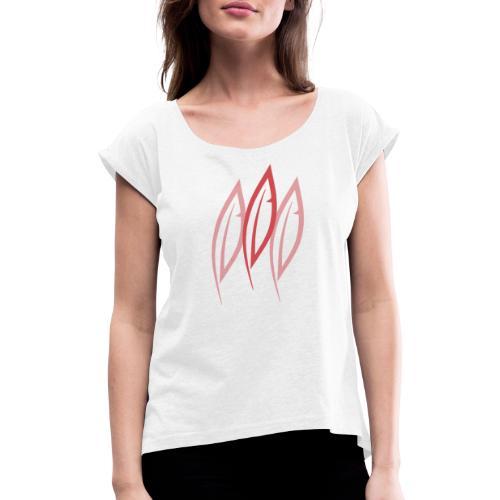 Logo - Trois plumes - T-shirt à manches retroussées Femme