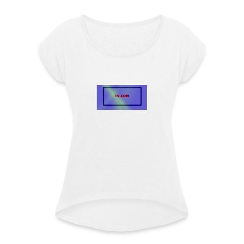 TV.COM - Naisten T-paita, jossa rullatut hihat