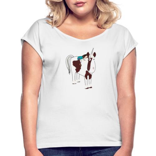 LOTTE und ein Einhorn - Frauen T-Shirt mit gerollten Ärmeln