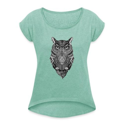 uil_groot - Vrouwen T-shirt met opgerolde mouwen
