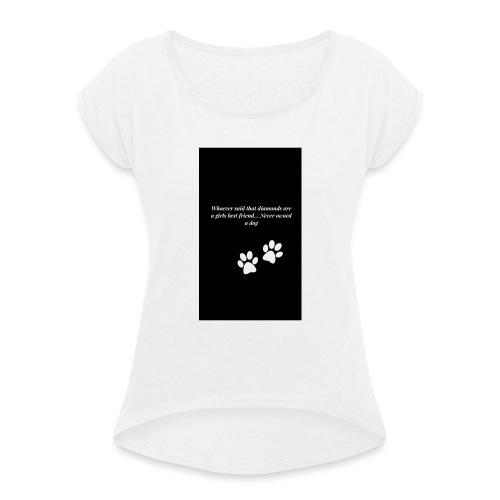 Hundliv - T-shirt med upprullade ärmar dam