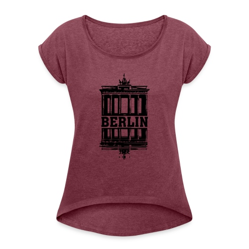 Berlin Brandenburger Tor Wasserspiegelung cool - Frauen T-Shirt mit gerollten Ärmeln