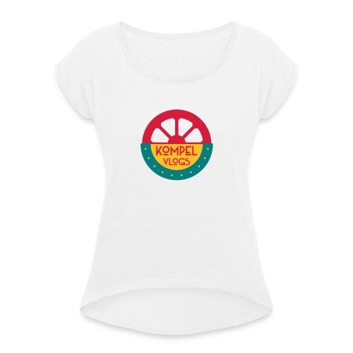 Kompel Vlogs Logo - Vrouwen T-shirt met opgerolde mouwen