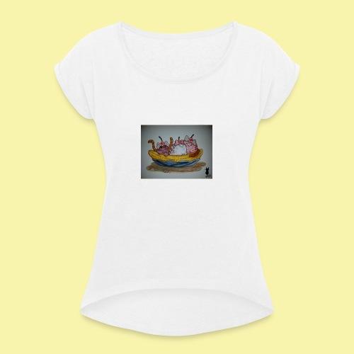 Ice-Cat's - Frauen T-Shirt mit gerollten Ärmeln