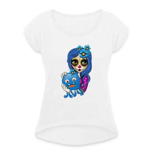 Catrina - Camiseta con manga enrollada mujer