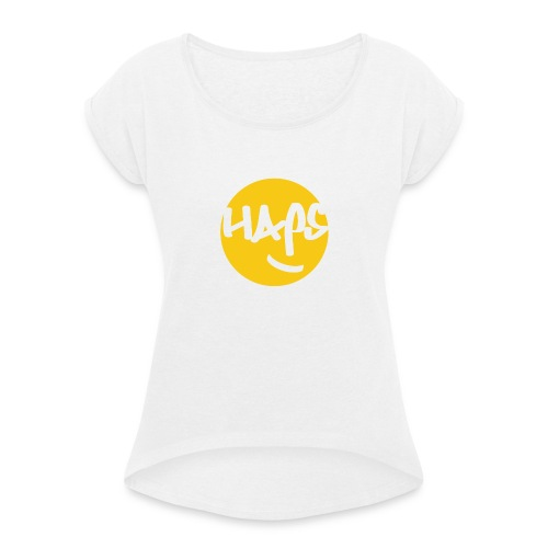 HAPS Yellow Logo - Women's T-Shirt with rolled up sleeves