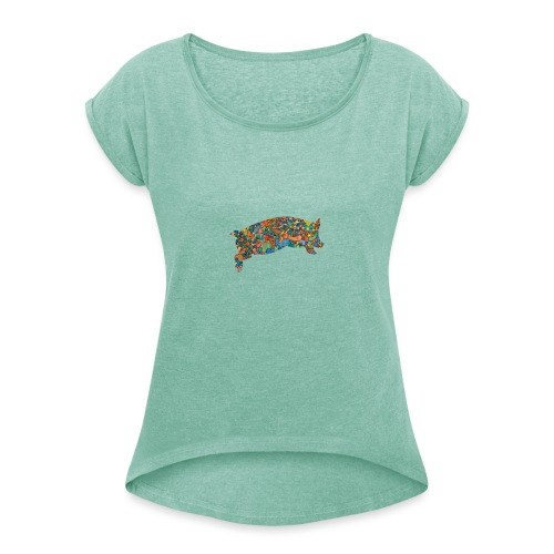 Time for a lucky jump - Women's T-Shirt with rolled up sleeves