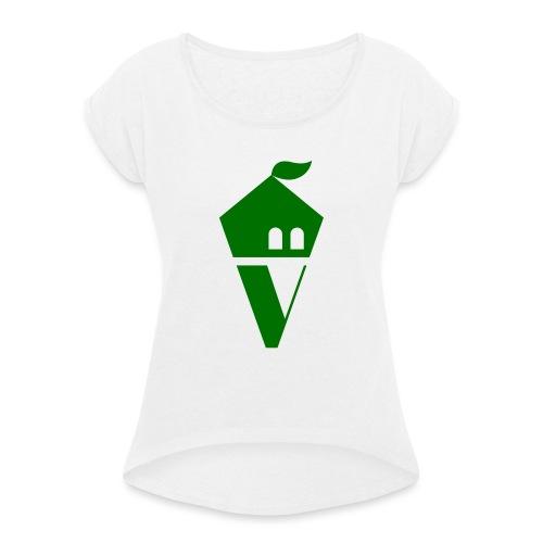 Villekula Logo in Grün auf Schwarz - Frauen T-Shirt mit gerollten Ärmeln