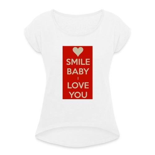 13EA371C 7A76 4027 BF26 429EE3809D0D - T-shirt med upprullade ärmar dam